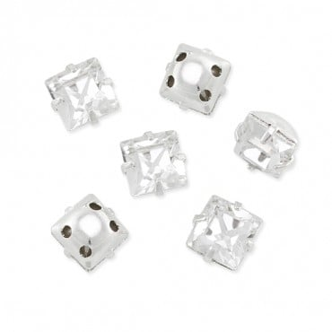6MM SQUARE SWAROVSKI SEW-ON - CRYSTAL/SILVER