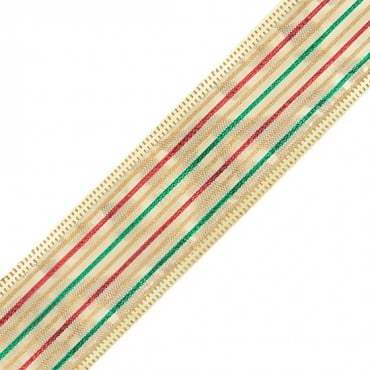 "1 1/2"" WIRED METALLIC RIBBON-1 1/2""-RED/GOLD/GREEN"
