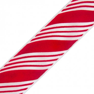 "2 1/2"" VELVET WIRED RIBBON-2 1/2""-RED/WHITE"