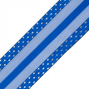 "2 1/2"" WIRED STRIPED RIBBON-2 1/2""-ROYAL"