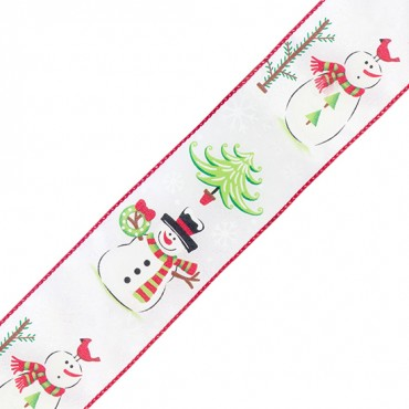 "2 1/2"" WIRED SNOWMAN CHRISTMAS RIBBON-2 1/2""-WHITE"