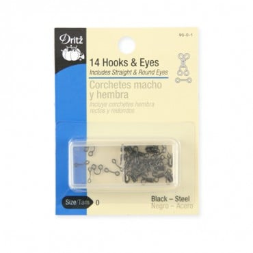 14PCS HOOKS & EYES PKG - BLACK STEEL
