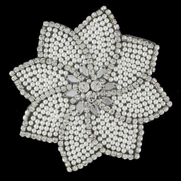 BEADED APPLIQUE - PEARL/CRYSTAL