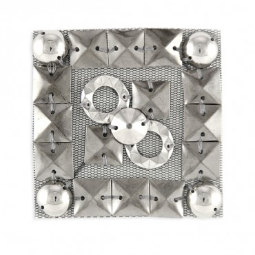 "2 3/8"" HOT-FIX STUDS SQ. MOTIF - SILVER"