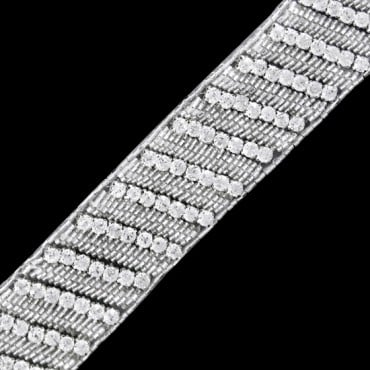 "1.5"" RHINESTONE BEADED TRIM - CRYSTAL/SILVER"