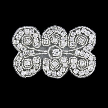 "3"" X 2"" RHINESTONE BEADED APPLIQUE-All-CYRSTAL/SILVER"