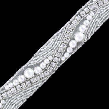 "1""(25mm) Rhinestone Pearl Trim"