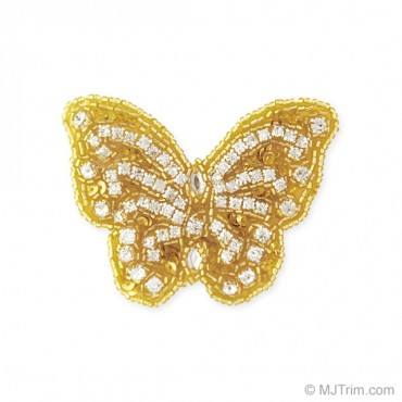 "3 1/4"" X 2 1/2"" RHINESTONE BEADED BUTTERFLY APPLIQUE"