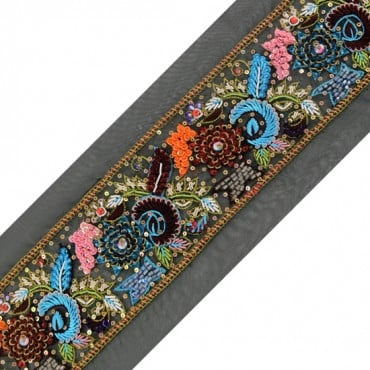 "2.75"" EMBROIDERED FLORAL TRIM - MULTI"