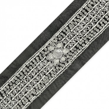 "1 3/4"" BEADED FLORAL TRIM"