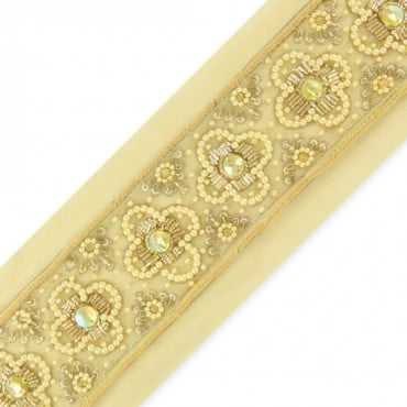 "2.25"" BEADED BORDER TRIM - GOLD/IVORY/YELLOW AB"