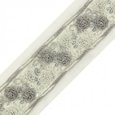 "2.25"" EMBROIDERED FLORAL TRIM - SILVER MULTI"