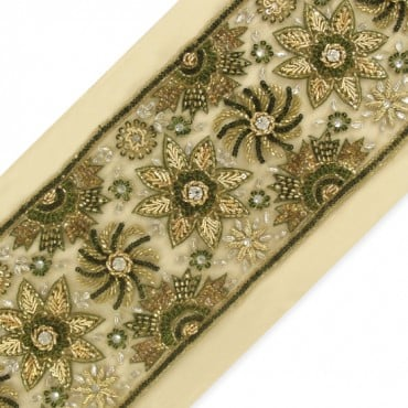 "5.25"" FLORAL BEADED BORDER - GREEN/GOLD MULTI"