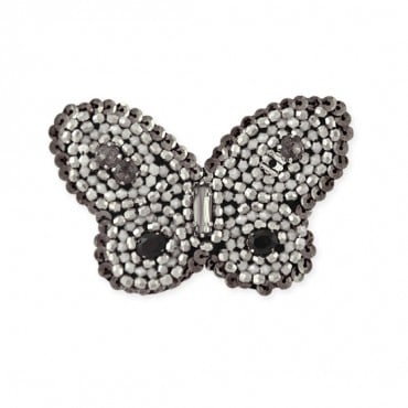 "3.5""X2.5"" BEADED BUTTERFLY APP - BLACK/SILVER MULTI"