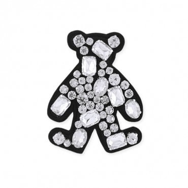 "2.75""X3.25"" JEWEL BEAR APPLIQUE - CRYSTAL/BLACK"