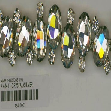 24MM RHINESTONE TRIM - CRYSTAL/SILVER
