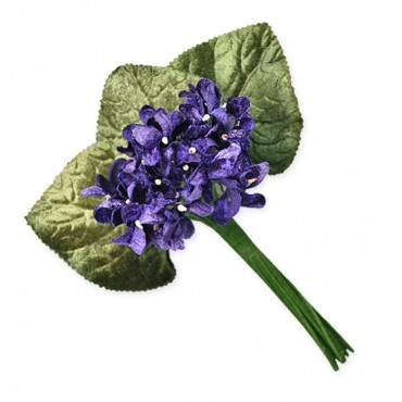 VELVET VIOLET BUNCH WITH PIN - DARK BLUE