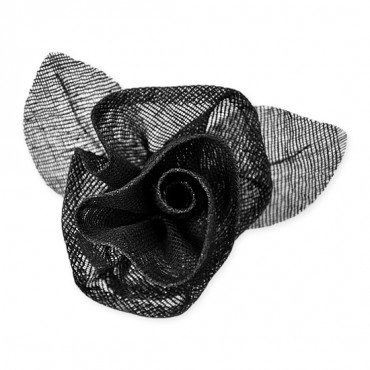 COARSE WEAVE ROSE WITH PIN