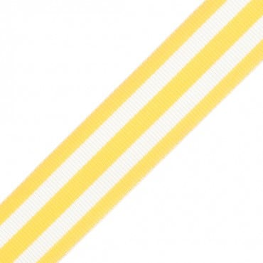 "7/8"" CONTRAST STRIPE GROSGRAIN-YELLOW/WHITE"