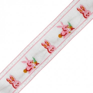 "7/8"" RABBIT JACQUARD RIBBON-WHITE/PINK"