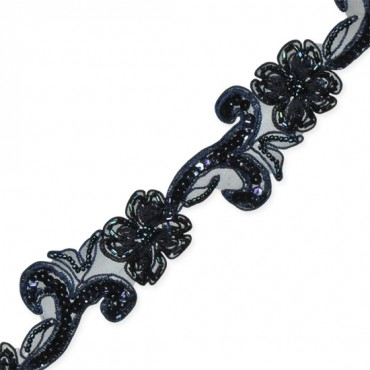 "1 3/4"" BEADED FLORAL TRIM-All-DARK NAVY"