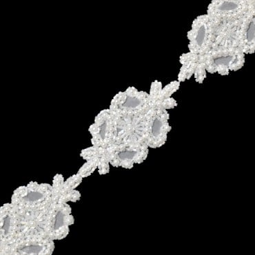 "2"" BEADED FLORAL TRIM-All-WHITE"