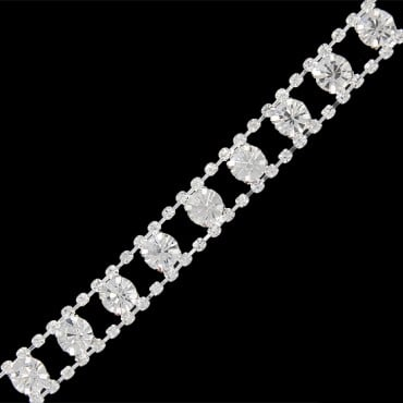 12MM RHINESTONE TRIM - CRYSTAL/SILVER