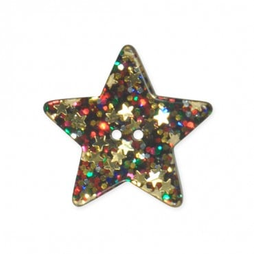 5-STAR GLITTER BUTTON - 2HOLES - MULTI