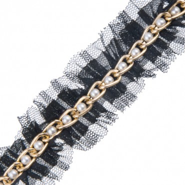 """1"""" RUFFLE TRIM WITH PEARL CHAIN CENTER"""