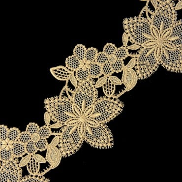 "3"" FINE METALLIC LACE-3""-GOLD"