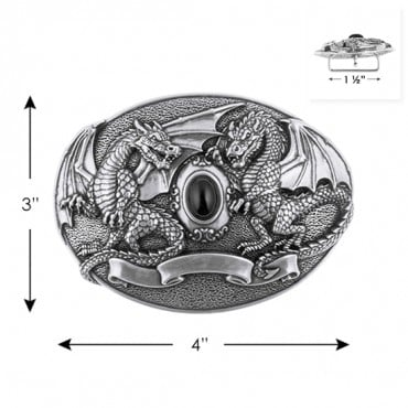 "3"" X 4"" GARGOYLE METAL BUCKLE-All-SILVER"