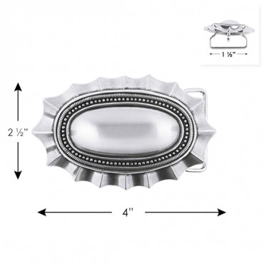 "2 1/2"" X 4"" OVAL METAL BUCKLE-All-SILVER"