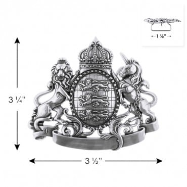 "3 1/4"" X 3 1/2 METAL CREST BUCKLE-All-SILVER"
