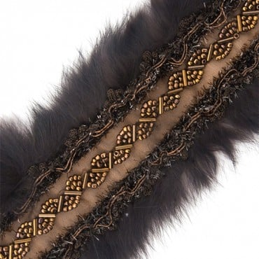 BEADED TRIM WITH FUR EDGE