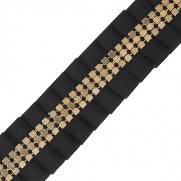 "1"" MESH CENTER PLEATED RIBBON-1""-BLACK/GOLD"