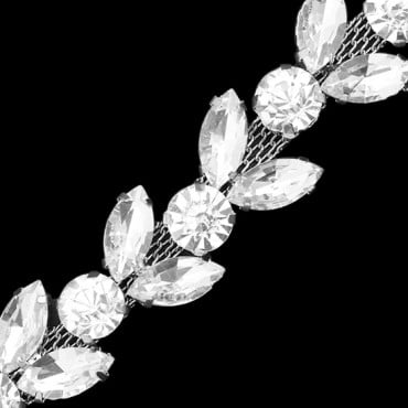 20MM RHINESTONE LEAF TRIM-20mm-CRYSTAL/SILVER