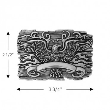 EAGLE & FLAMES METAL BUCKLE-SILVER