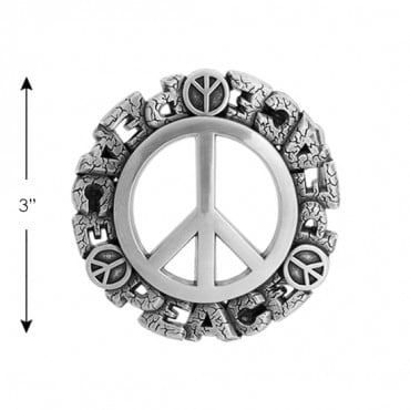 "3"" PEACE SIGN BUCKLE-3""-SILVER"