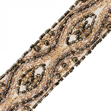 "1 1/4"" WAVE AND POINTED OVAL BEADED TRIM"