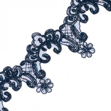 "3"" BULLION AND BEADED FLORAL TRIM-3""-NAVY"