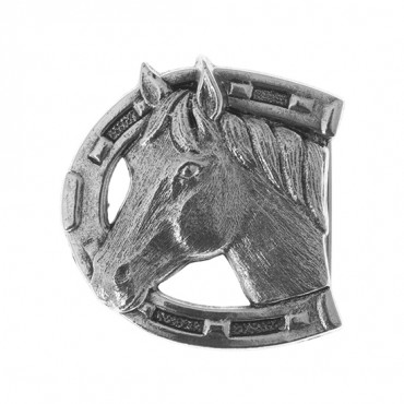 HORSESHOE AND HORSE METAL BUCKLE-ANTIQUE SILVER