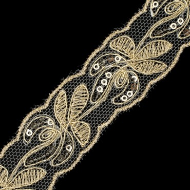 """1"""" FLORAL EMBROIDERED SEQUIN LACE ON NET"""
