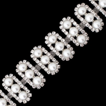 3-Row (23mm) Pearl and Rhinestone Trim