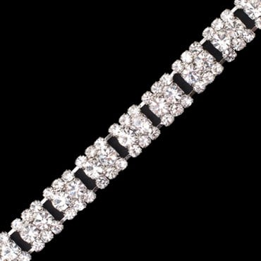9MM NARROW RHINESTONE TRIM-9mm-CRYSTAL/SILVER