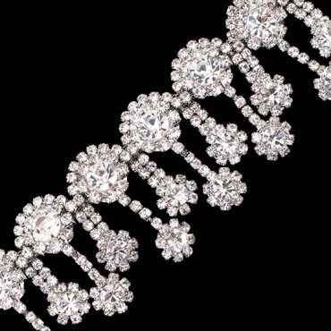 "1 1/2""(38mm) Rhinestone Flower Fringe Trim"