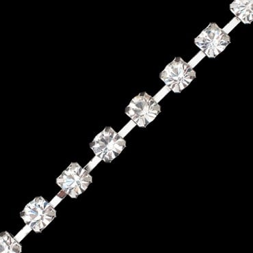8MM RHINESTONE CHAIN-8mm-CRYSTAL/SILVER