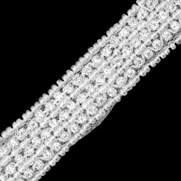 18MM RHINESTONE AND SEED BEAD ROW TRIM -CRYSTAL/SILVER