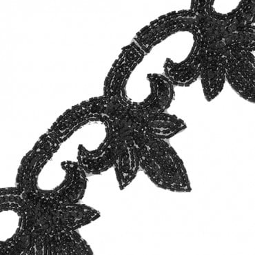 "3 1/2"" LEAF SEQUIN BEADED TRIM"