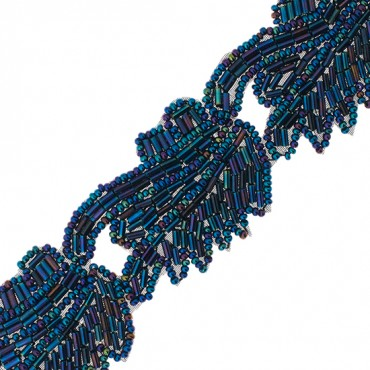 "1 1/2"" BUGLE AND SEED BEADED TRIM-BLUE IRIS"