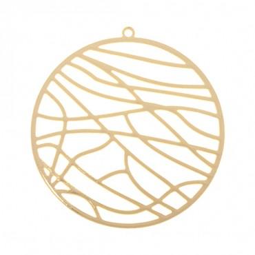 37MM GOLD ABSTRACT CIRCLE MEDALLION